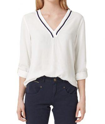 Bluse mit tiefen V-Neck von S.OLIVER