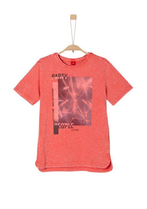 T-Shirt mit Fotoprint und Wascheffekten