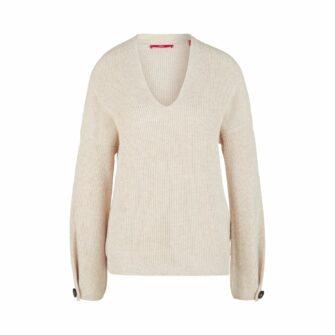 Pullover mit V-Neck und Zierknopf
