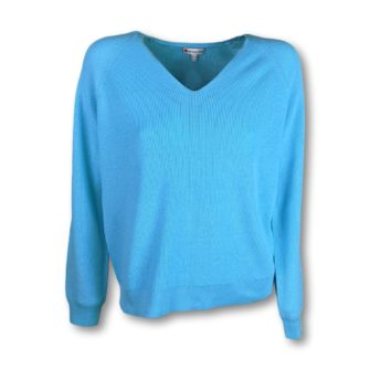 Rippenstrick Pullover mit V-Ausschnitt