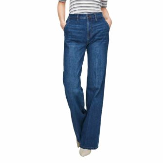 Wide Leg Jeans mit dunkler Used Waschung