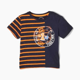 Baby T-Shirt mit Streifen und Print