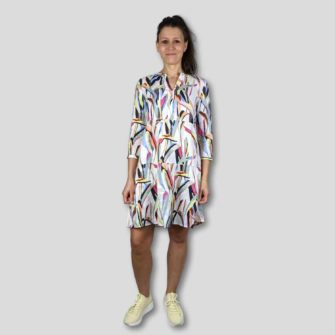 Tunika Kleid aus Leinen mit Allover Print