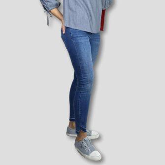 Cropped Skinny Jeans mit Fransensaum