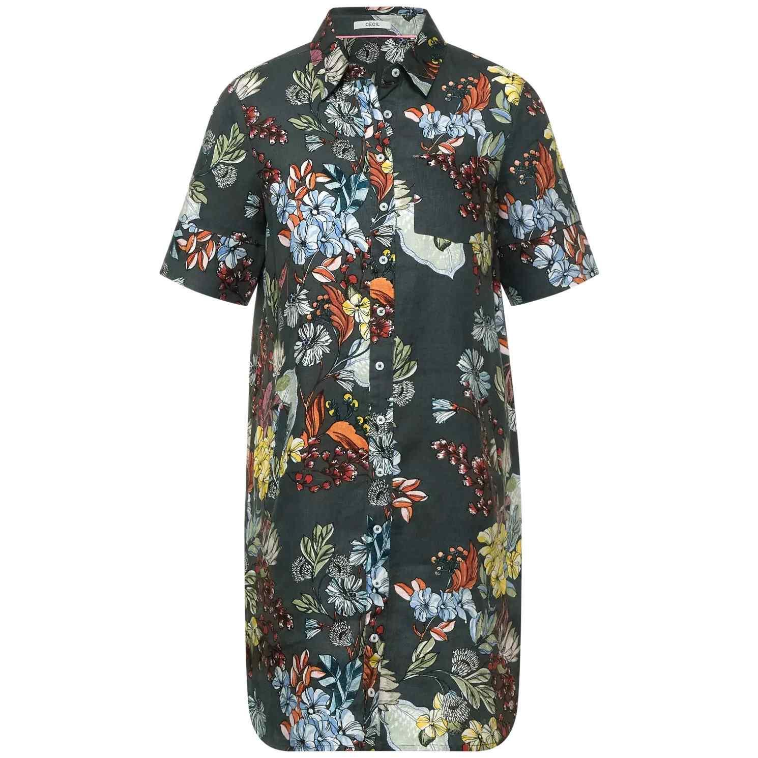 CECIL Leinen-Kleid mit Blumen Muster