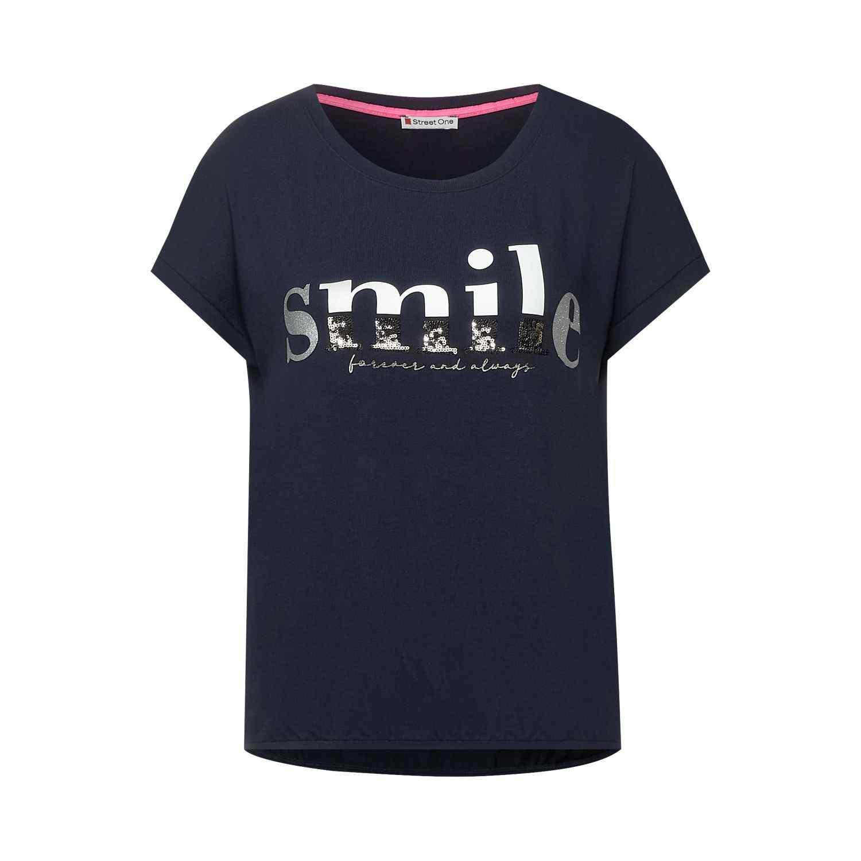 T-Shirt mit Partprint im O-Shape