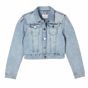 Kurze Denimjacke in sommerlichem Used Look