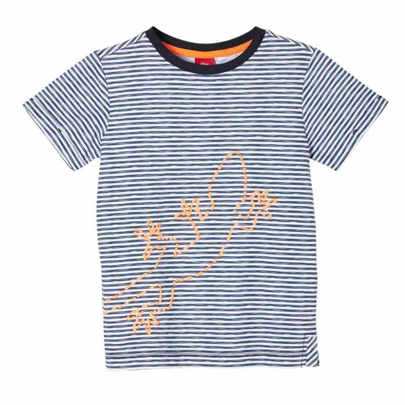 Boys Streifen T-Shirt mit Stickerei