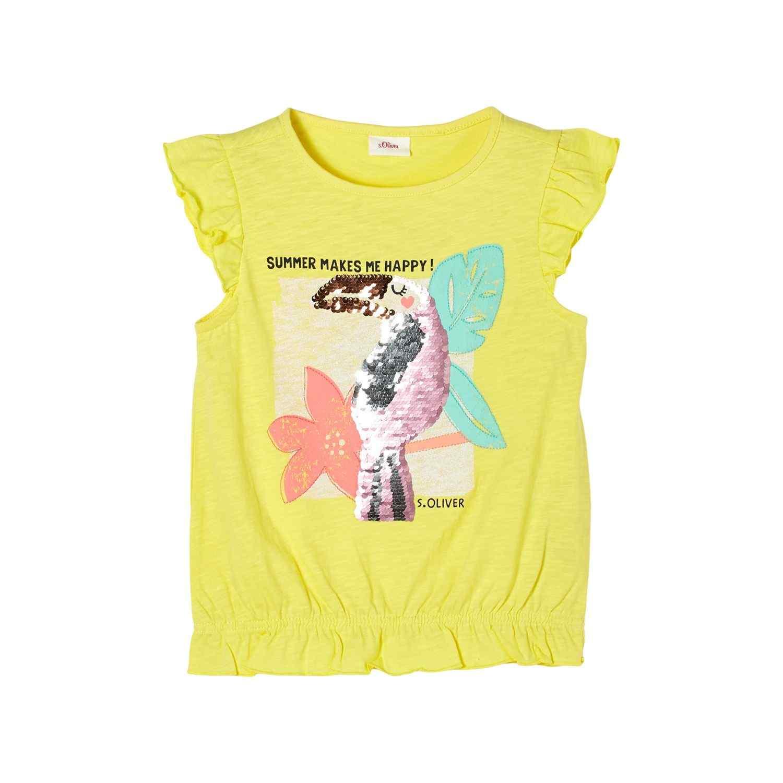 Girls T-Shirt mit Wendepailletten und Volants