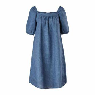 Luftiges Leinenkleid mit Puff-Sleeves