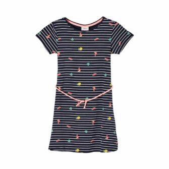 Girls Jerseykleid mit Streifen und Bindeband