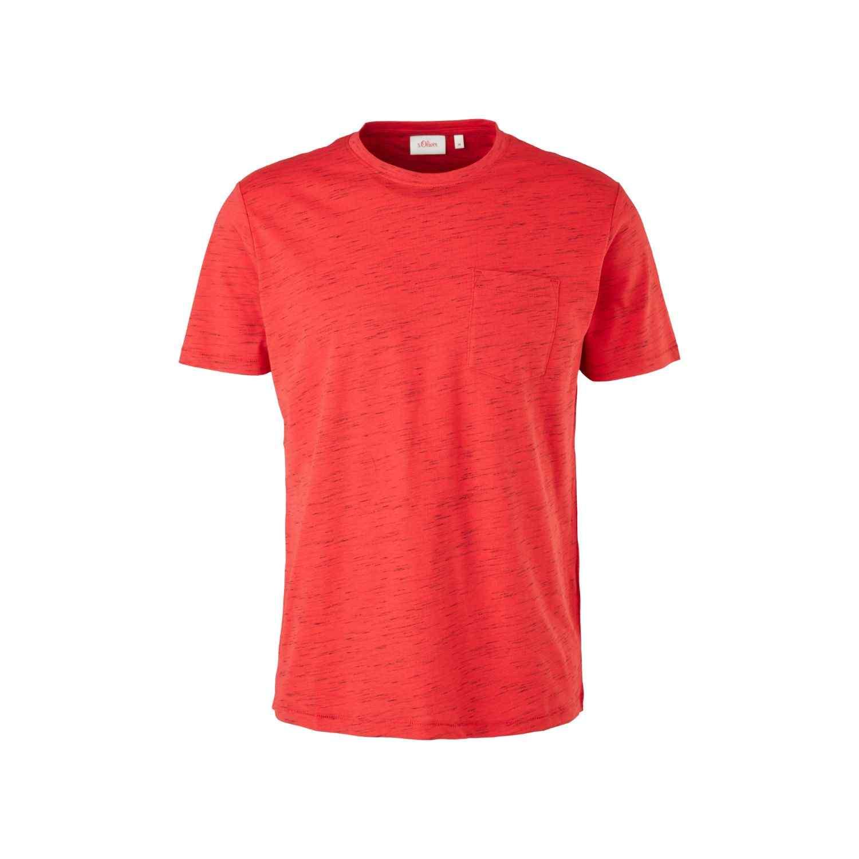 Meliertes Shirt mit Brusttasche