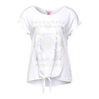 T-Shirt mit Partprint und Knotendetail