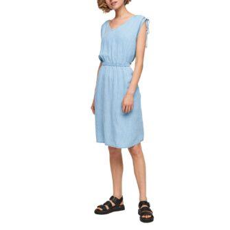Leichtes Denim Kleid mit Nadelstreifen