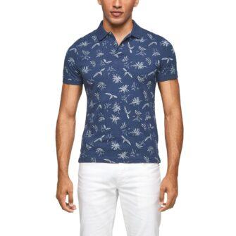 Slim Fit Poloshirt mit Palmenprint