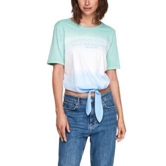 Jersey Shirt mit Farbverlauf und Knotendetail