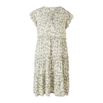 Viskose Kleid mit Volants und Rueschen