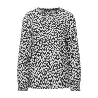 Allover Print Bluse mit Smok Details