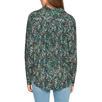 Hemdbluse mit herbstlichem Mille Fleur Print